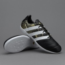 Футзалки Adidas ACE 16.3 IN Leather -  Black/White/Gold Metallic (S76563)