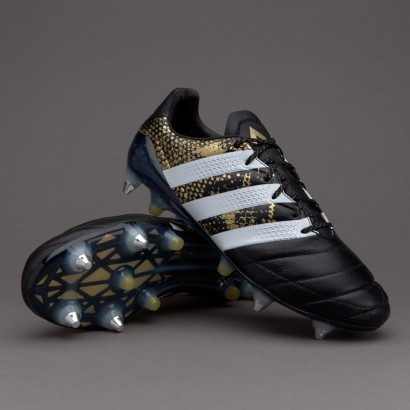 Adidas ACE 16.1 SG Leather - Core Black/White/Gold Metallic  (PRO)