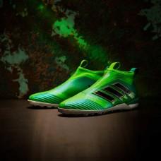 Сороконожки  без шнурков Adidas ACE 17+ Tango Purecontrol TF - Solar Green/Core (S82080)
